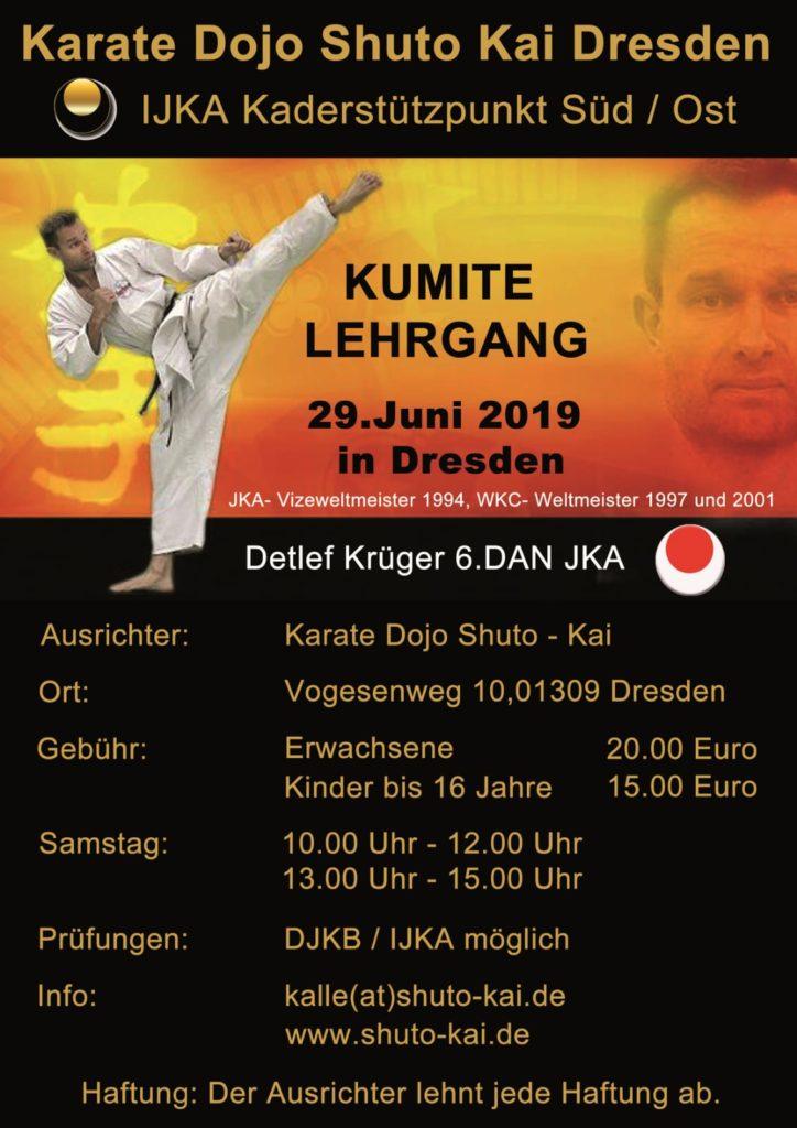 Kumite Lehrgang mit Detlef Krüger (6. DAN JKA) @ Trainingshalle Shuto Kai