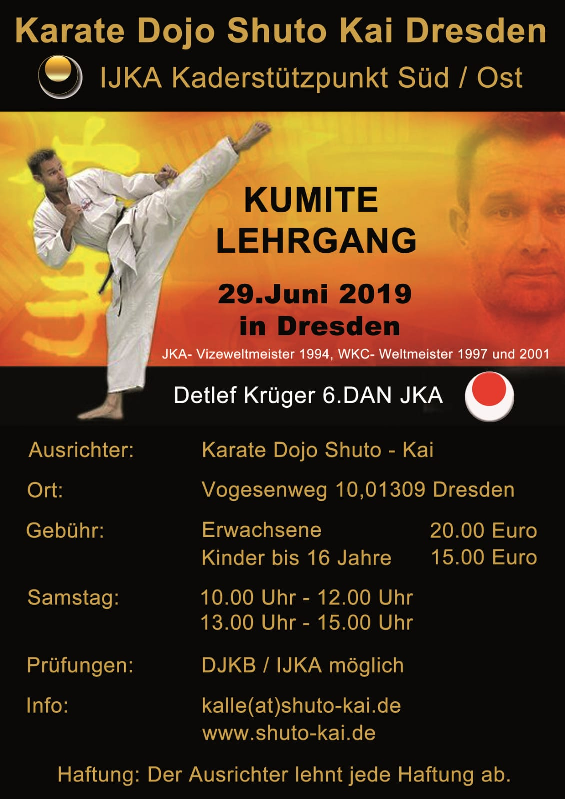 Kumite Lehrgang mit Detlef Krüger 6. DAN JKA @ Trainingshalle Shuto Kai